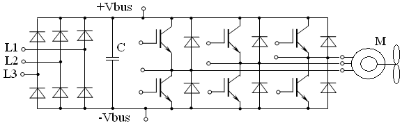 Упрощенная электрическая схема силовой части преобразователя частоты